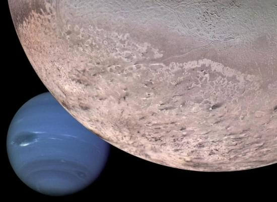 IRF kan få möjligheten att utforska Neptuns och Triton (bilden är ett montage).