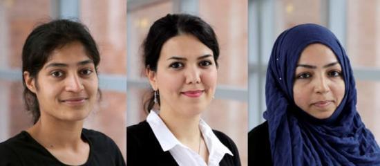 Sneha Goel, Paria Karimi och Tahira Raza är tre av de kvinnliga doktoranderna inom produktionsteknik.