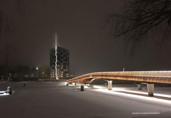 Nattligvisionsbild över hur Light House Joensuu, Finlands högsta träbyggnad, kommer att se ut.