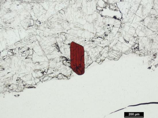 Mineralet zinkgruvanit sett i polarisationsmikroskop.