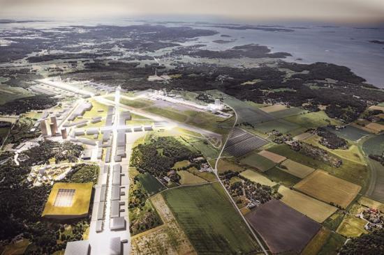 Illustration över Säve flygplats.