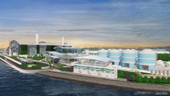 Visionsbild över Tuas vattenreningsverk, som kommer ha en behandlingskapacitet på 800000kubikmeter per dag och säkerställa Singapores vattenförsörjning genom rening av avloppsvatten.