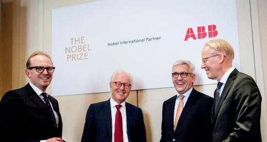 Fr v: Mattias Fyrenius, VD Nobel Media, Lars Heikensten, VD Nobelstiftelsen, Ulrich Spiesshofer, koncernchef ABB, och Johan Söderström, vd för ABB Sverige.