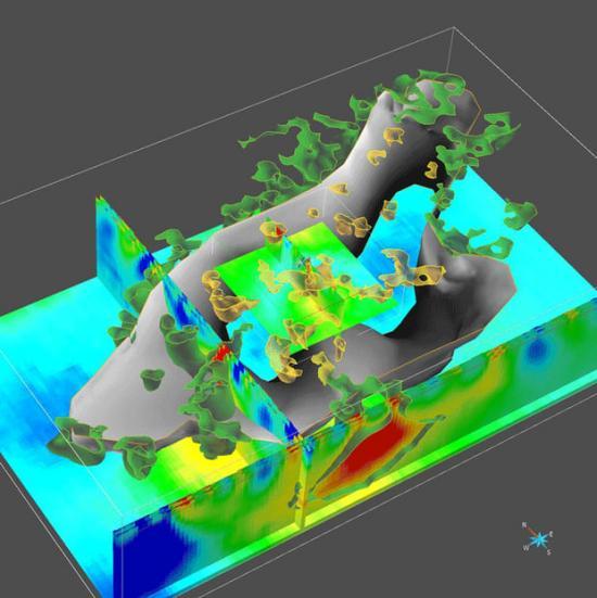 Utsnitt 3D-densitetsmodell , baserad på tyngdkraftsdata från Falu gruvområde.