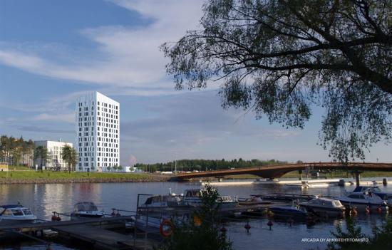 Light House Joensuu, Finlands högsta träbyggnad,i dagsljus.