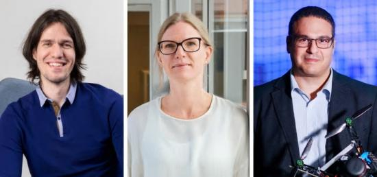 Marcus Liwicki, Josefine Enman och George Nikolakopoulos, vid Luleå tekniska universitet.