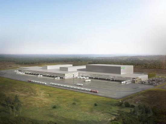 Coops nya automatiserade varuterminal i Eskilstuna kommer <span><span>ha en totalyta på 109 000 kvm och blirdärmeden av Europas största helautomatiserade terminaler för livsmedel (bilden är en illutration).</span></span>