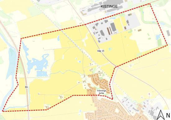 Området i Trönninge som omfattas av restriktioner.