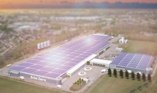 Visionsbild över dennya anläggningen Site Zero som ska byggas i Motala (bilden är en illustration).