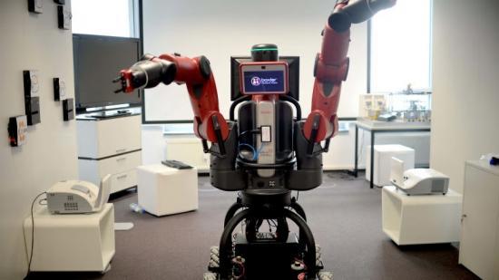 Robot av modellen Baxter, av samma typ som finns på robotlabbet vid Högskolan i Gävle.