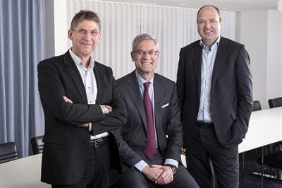 HYBRIT-partners: Jan Moström, vd och koncernchef LKAB, Martin Lindqvist, vd och koncernchef på SSAB och Magnus Hall, vd och koncernchef på Vattenfall.HY