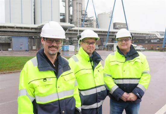 Fr v Peter Westman, chef Planering, Mikael Forseryd, projektledare Höststopp 2017 och Anders Mjöberg, avdelningschef Underhåll.