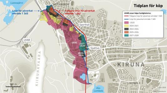 Tidplan för köp Kiruna med såväl gamla (röd) som den förtydligade prognoslinjen (blå).