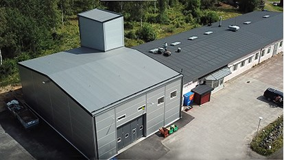 Lesjöforsnya lagerbyggnad i Nordmarkshyttan.