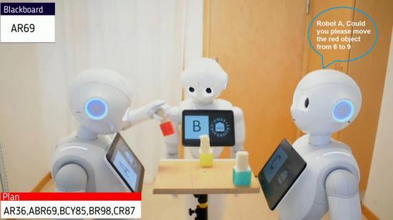Experimentell uppställning av samarbetande Pepper-robotar som flyttar objekt medan de förklarar sina egna och andras handlingar.