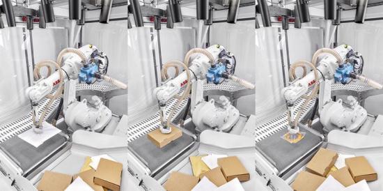 En ABB-robot sorterar olika sorters paket med Covariant AI.