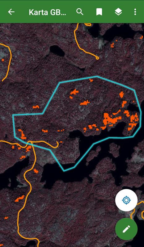 Så här ser Holmens karta ut i mobilen.