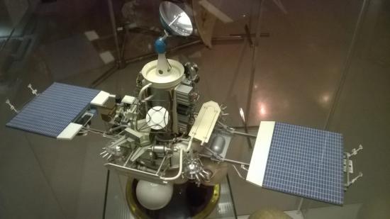Phobosmodell vid rymdmuseum i Moskva.