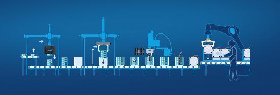 Mycket effektivt batteripaket: SCHUNKs gripsystem möjliggör automatisk upptagning och stapling av cellmoduler, snabba samlingsprocesser och hög processäkerhet.